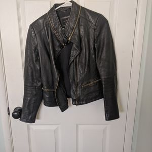 Zara faux leather jacket with gold hardware